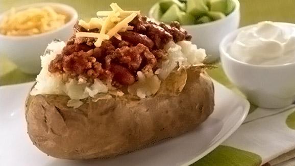 Chili Stuffed Baked Potatoes
