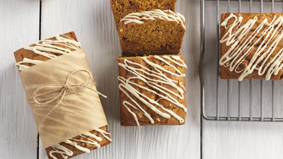 White Chocolate, Caramel & Pumpkin Mini Loaves